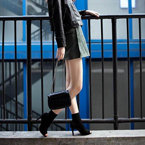 COOLCEPT Damen Fashion Booties Pumps Elastic High Top Shoes Peep Toe Schwarz