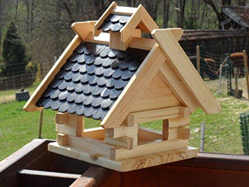 Arbrikadrex Futtersilo Futterhaus Schreinerware Holz Vogelfutter Vogelhaus Vogelvilla Vogel Blockhaus Futterspeicher XL Rot oder Schwarz (XL, Schwarz) auch zum aufhängen Balkon