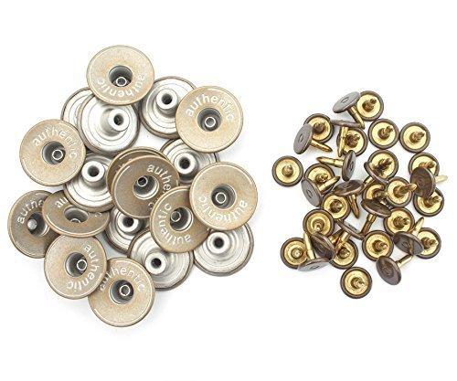 20mm Messing Jeans Knöpfe in Licht Bronzen mit Befestigungs- Hand-werkzeug JB34 von Trimming Shop - 10, Jeans Buttons and HAND TOOL