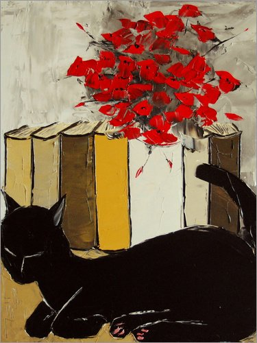 Poster 100 x 130 cm: Katze mit Büchern von JIEL - Hochwertiger Kunstdruck, Kunstposter