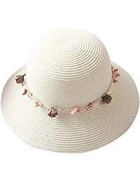 Screenes 1X Sombrero De para Sombrero Paja para Niños El Sol Estilo Simple  con Flor ala Ancha Sombrero Playa Sombrero Primavera… f270c937bbf