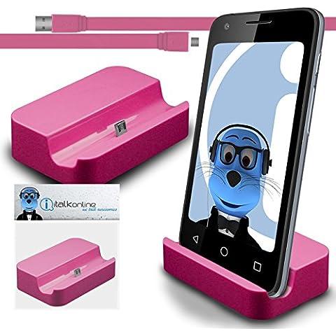 iTALKonline BlackBerry Classic Q20 2015 Rosa Micro USB Sync & Charge / ricarica Desktop Dock stand di ricarica con 1,2 metro USB di alta qualità FLAT a Micro USB di Sincronizzazione e Ricarica