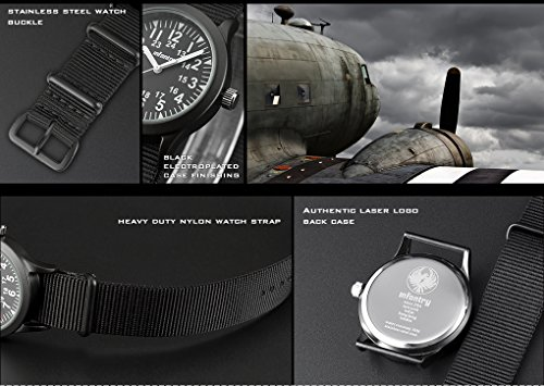 INFANTRY® Analoges Quarzwerk Armbanduhr Schwarz Herrenuhr Quarz Analoguhr Outdoor Militär Uhr G10 Nylon Uhrband - 4