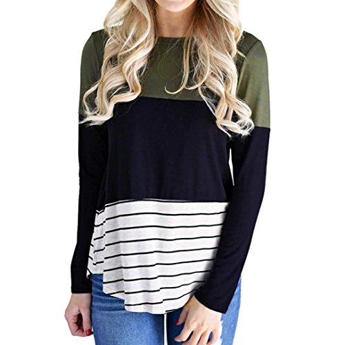 TWIFER Damen Langarmshirt Bluse Rundhals Pullover Streifen Farbe Block Oberteile