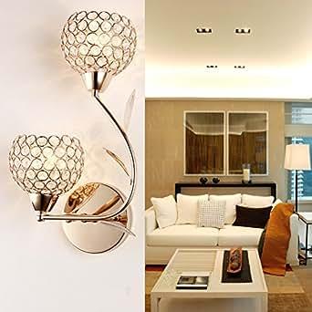 Elinkume 80W Crystal Applique Standard Culot E14 Lampe Matériel K9 Cristal Lumiere Murale Lampe 220V Convient à Incandescent et LED