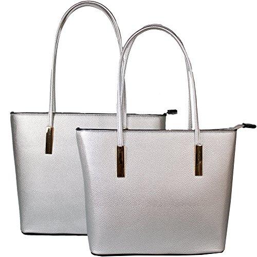 2 Taschen - 1 Preis Henkeltaschen Handtasche in versch. Farben Hochwertiges Kunstleder (Silber)