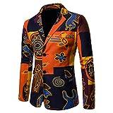Zhiyuanan Herren Frühling Herbst Casual Blazer Jacken Sakko National Nationaler Stildruck Slim Fit Retro Party Muster Blumen Baumwolle Leinen Zwei Knöpfe Blazer Mantel 3# XL