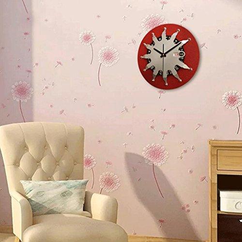 ZLR Mute De Mode Horloge murale créative d'horloge de mur en métal de salon Horloge murale d'utilisation à la maison personnalisée ( Couleur : Rouge )
