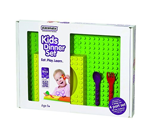 Placematix Zusammensteckbares Spielzeug-Geschirr-Set für Kinder, Geschenk-Box-Set, Gelb/Rot/Violett