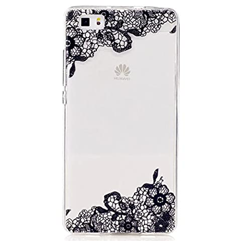 Huawei P8 Lite Case, MUTOUREN Henna Mandala Floral Designer Hard Shell Case [Clear Back Cover, Slim Fit, TPU Border] Flowers Printed Thin Cute Design Vintage Retro Style for Girly Girls Women Huawei P8 Lite (Lace Ice Flower)