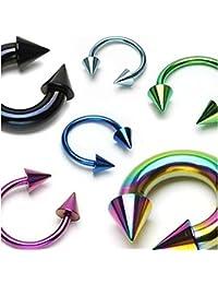 Lot de Six Piercings Barres Barbells Circulaires 1.2mm avec Spikes en Titane Anodisé