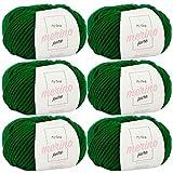 Merinowolle zum Stricken -6X Merino Pure waldgrün (Fb 4737)- 6 Knäuel Merinowolle grün + GRATIS Label - weiche Wolle - 50g/65m - Nadelstärke 6-7mm - Wolle Merino fine - Merino Wolle häkeln