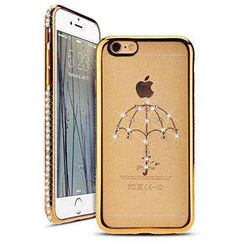 Apple iphone 6 / 6s 4.7 Zoll Hülle, SMART LEGEND 3D Plating TPU Case Soft Silikon Gel Schutzhülle Mit Mini Metal Finger Diamant Ring und Standfunktion, Strass Bling Weich TPU Zubehör Handy Tasche Shin Gold Umbrella