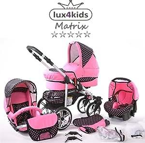 Chilly Kids Matrix II 3 en 1 Poussette combinée (siège auto inclus les adaptateurs, habillage pluie, moustiquaire, roues pivotantes 62 couleurs) 44 rose & points rose