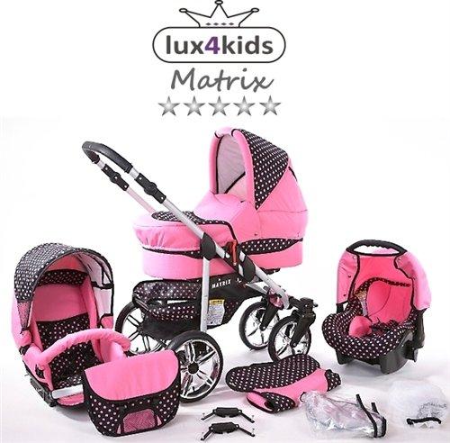 Chilly Kids Matrix II Kinderwagen Komplettset (Autositz & Adapter, Regenschutz, Moskitonetz, Schwenkräder) 44 Rosa & Rosa Punkte