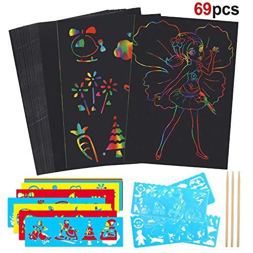 Howaf Kratzbilder Set für Kinder, 50 Blätter Kratzpapier Scratch Art zum Kinder Zeichnen und Basteln | mit 16 Schablonen, 3 Holzstiften (Basteln Blättern Mit)