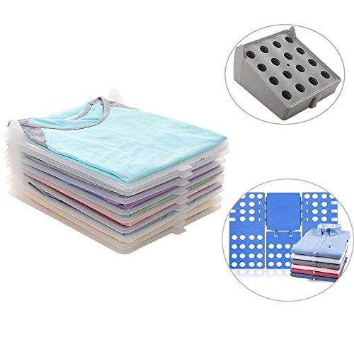 T-MIX Kleiderschrank Organizer, Closet Organizer Clothes/T-Shirt Underwear Folder with 10-Piece Separate Board (Gray+Folding Board)