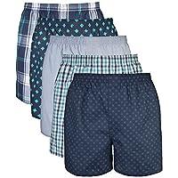 Gildan Men's Woven Boxer Underwear (Pack of 5), Assorted Navy, Medium