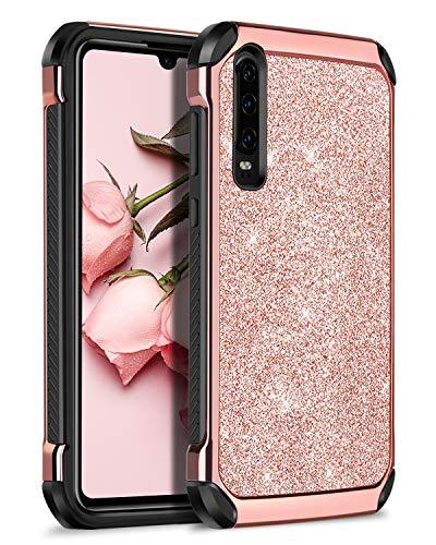 BENTOBEN Huawei P30 capa, Huawei P30 capa à prova de choque, telefone celular das mulheres Bling à prova de choque de dupla camada híbrido PC duro capa protetora da caixa TPU flexível para Huawei P30 - ouro rosa