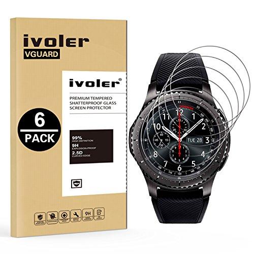 iVoler [6 Pack] Vetro Temperato per Samsung Galaxy Watch 46mm / Samsung Gear S3 Frontier / S3 Classic [Garanzia a Vita], Pellicola Protettiva, Protezione per Schermo