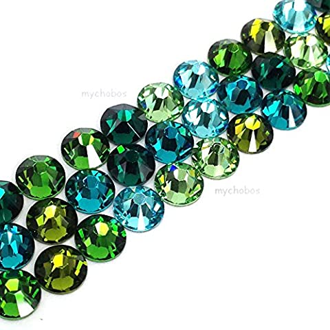 144 Swarovski 2058 Xilion / 2088 Xirius Rose crystal flat backs No-Hotfix nail art rhinestones GREEN & TEAL Colors Mix ss20 (4.7mm) **FREE Shipping from Mychobos (Crystal-Wholesale)**