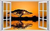 DesFoli Safari Savanne 3D Look Wandtattoo 70 x 115 cm Wanddurchbruch Wandbild Sticker Aufkleber F240