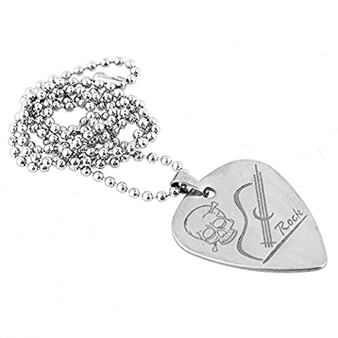BQLZR 500mm Length Chain Silver Metal Heart Shape Guitar Pick Pendant Necklace Holder Plectrum