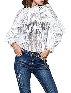 Encaje transparente oficina blusa camisera de la mujer