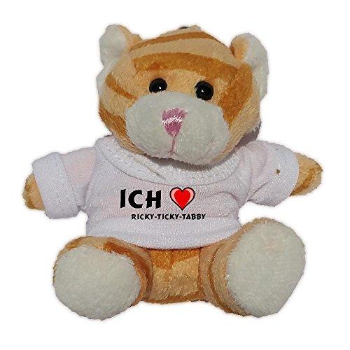 Plüsch Braun Katze Schlüsselhalter mit T-shirt mit Aufschrift Ich liebe Ricky-ticky-tabby (Vorname/Zuname/Spitzname) (Tabby-katze-plüsch)