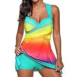 VJGOAL Damen Tankini, Dame Fashion Rainbow Farbe Swimdress Beachwear Gepolsterte Bademode Plus Size Bikini Badeanzug, 32-46 (S/32, Hellblau)