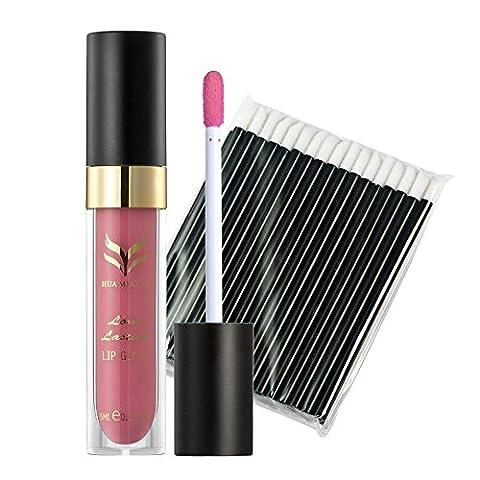 LUBITY 50Pcs Jetables Noir Bar Brosse à LèVres + Gloss Mat Lip Combinaison de Maquillage (F)