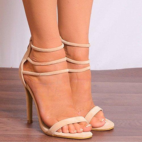 Womens Sandales Lanières à Peine Là Nue Peep Toes Chaussures Talons Hauts Talons Aiguilles Nude
