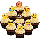 Emoji/Smiley Faces Party Pack – Decoración comestible para cupcakes – para tartas de oblea decoraciones, Pack of 36