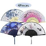 4 Stück Faltbare Fächer Handfächer für Damen, Holz Geschnitzten Bambus Handheld Faltfächer, Chinesischen Stil Hand Fächer Mit Quasten für Wanddekoration und Geschenke