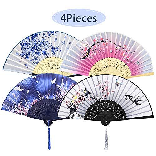 4 Stück Faltbare Fächer Handfächer für Damen, Holz Geschnitzten Bambus Handheld Faltfächer, Chinesischen Stil Hand Fächer Mit Quasten für Wanddekoration und Geschenke -