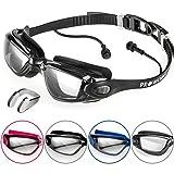Proworks Taucherbrille mit 100% UV Schutz [Wasserdicht] Schwimmbrille mit Sehstärke und eingearbeiteten Ohrstöpsel für Tauchen, Schwimmen & Schnorcheln - inkl. Nasenklammer & Tasche - Schwarz mit klaren Gläsern