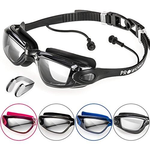 Proworks Taucherbrille mit 100% UV Schutz [Wasserdicht] Schwimmbrille mit Sehstärke und Ohrstöpsel für Tauchen, Schwimmen & Schnorcheln - inkl. Nasenklammer & Tasche - Schwarz mit klaren Gläsern