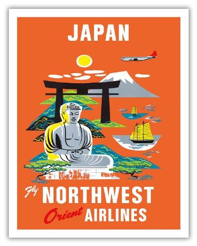 Pacifica Island Art Japan-Fliegen Nordwesten Orientieren Fluggesellschaften NWA-Mt. Fuji Buddha-Vintage Airline Travel Poster c.1950s-Fine Art Print 11