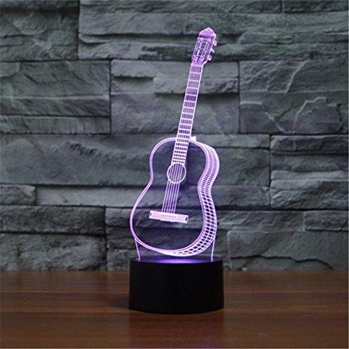 Weihnachten Valentinstag Hochzeit und Geburtstag Geschenke 3D-Tabelle Touch Lampe 7 bunte Farbe ändern Nachtlicht für Kinder und Kinder Gitarre