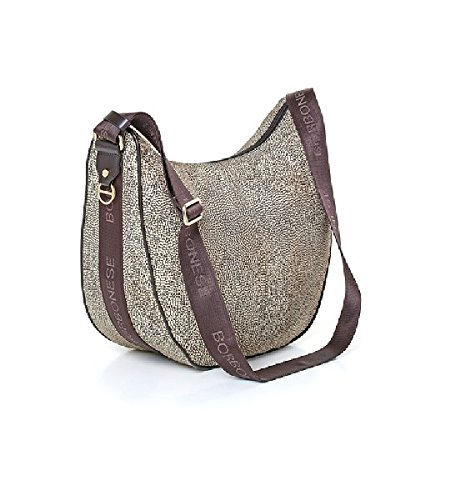 Borbonese LUNA BAG MEDIUM IN JET O.P. E PELLE colore classico marrone