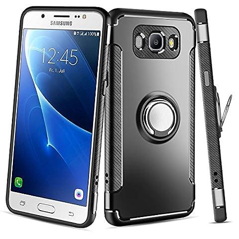 Coque Galaxy J5 2016 ,Coolden Housse de protection 360 degrés Bague Kickstand Plaque de métal Support Étui Défenseur Double couche Anti-Drop Anti-rayures Couverture de téléphone Pour Samsung Galaxy J5 2016 Noir
