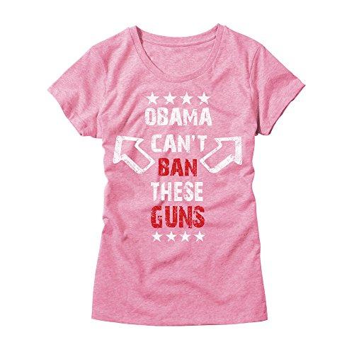 HGOS Damen T-Shirt Obama Can't Ban These Guns - Lustiges Republican USA Tee - Pink - Klein -