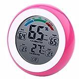 GAOHOU® Runder Touchscreen Digital LCD Thermometer Hygrometer Temperatur-und Feuchtigkeitsmesser Wecker Rosa