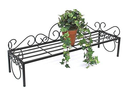 DanDiBo Blumenregal Metall Schwarz 75 cm Blumenständer Mi Blumenbank Blumentreppe Pflanzentreppe Blumenhocker Pflanzenständer