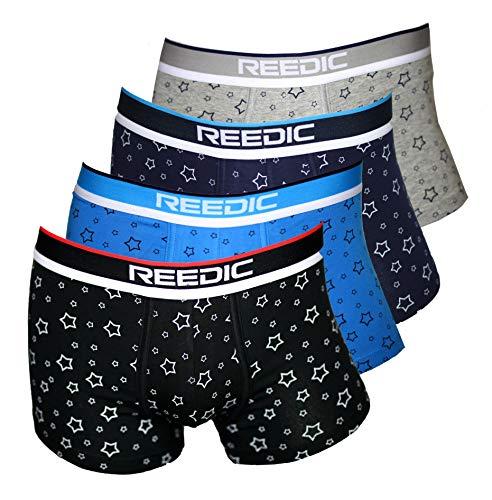 Reedic Herren Boxershorts Baumwolle mit Sternen-Motiv im 4er Pack, Größe X-Large (XL), Farbe je 1x schwarz, blau, dunkelblau,grau -