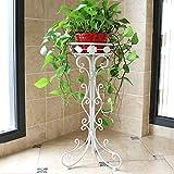 Blumenstand Einfacher einzelner Fußbodenbodenart Wohnzimmerbalkonschlafzimmer-Blumentopfzahnstange stabiles Eisenrahmen (Farbe : Weiß, größe : 30 * 24 * 60cm)