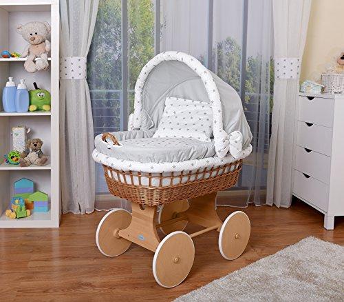 Preisvergleich Produktbild WALDIN Baby Stubenwagen-Set mit Ausstattung,XXL,Bollerwagen,komplett,26 Modelle wählbar,Gestell/Räder natur unbehandelt,Stoffe grau/Sterne-grau