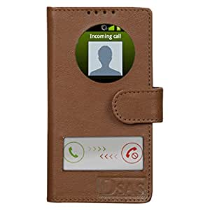 Dsas Geniune leather Flip cover with screen Display Cut Outs designed for Samsung Galaxy Core 2