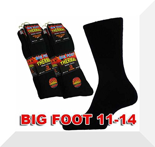 Herren Thermo-Socken, 3 Paar, Black Big Foot 11-14 (Coolmax-läufer)