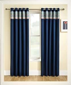 rideaux thermiques occultants avec illets et frise aux motifs azt ques bleu marine 168 x 137 cm. Black Bedroom Furniture Sets. Home Design Ideas